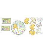 DECO PARED FIESTA BABY SHOWER 12 PIEZAS