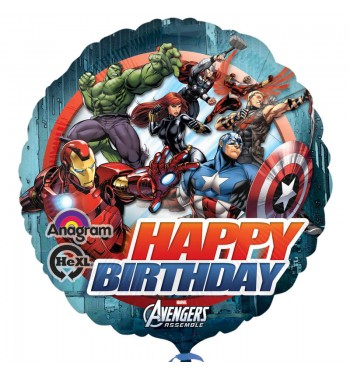 GLOBO DE HELIO AVENGERS HAPPY BIRTHDAY