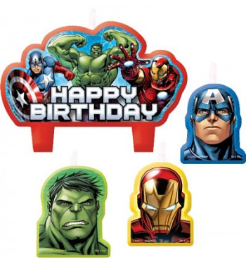 VELAS AVENGERS 4 UNIDADES HAPPY BIRTHDAY