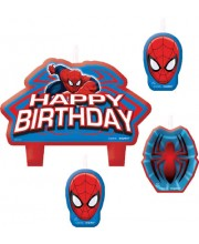VELAS SPIDERMAN 4 UNIDADES HAPPY BIRTHDAY