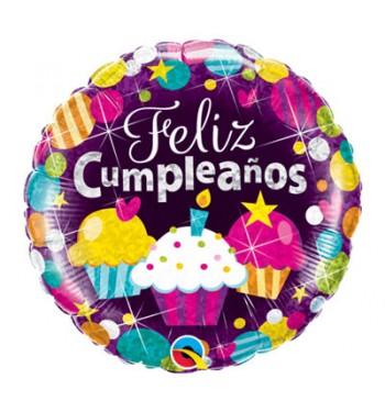 Globo De Helio Feliz Cumpleanos Holografiado Cupcakes Comprar - Globos-cumpleanos