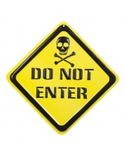 CARTEL PLASTICO DO NOT ENTER CON CALAVERA