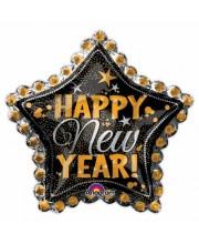 GLOBO DE HELIO ESTRELLA NEGRA HAPPY NEW YEAR GRANDE