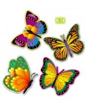 SET 4 MARIPOSAS COLOR FLUOR 32 CMS.