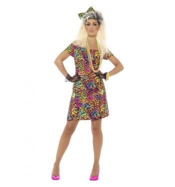 disfraz de aÑos 80 vestido animal print comprar online en