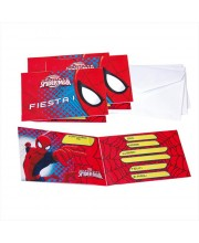 INVITACIONES SPIDERMAN ULTIMATE C/SOBRE 6 UNI.