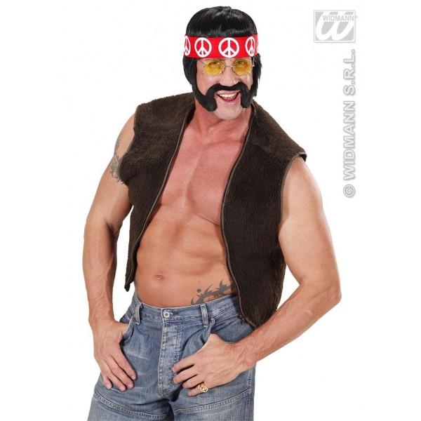 Peluca hippie con patillas bigote y cinta comprar online Style baba cool chic